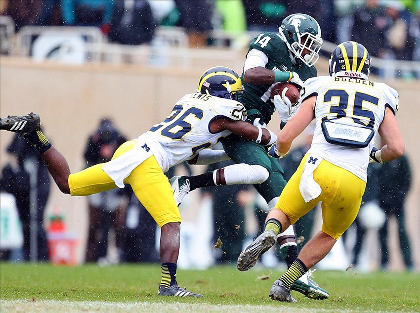 Jourdan Lewis and Joe Bolden vs MSU. (via Mike Carter-USA TODAY Sports)