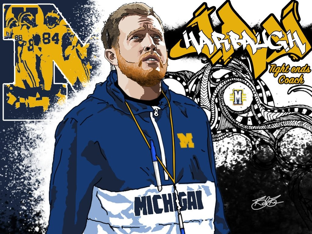 TE Coach Jay Harbaugh. (art by Brandon Whitaker)