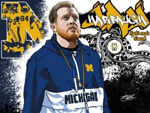 TE Coach Jay Harbaugh. (art by Brandon Whitaker)