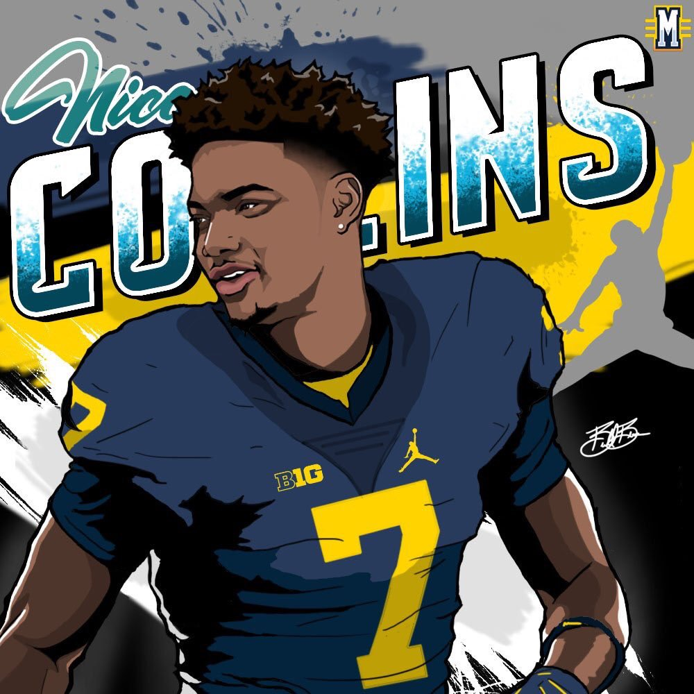 2017 WR Nico Collins Michigan edit (art by Brandon Whitaker)