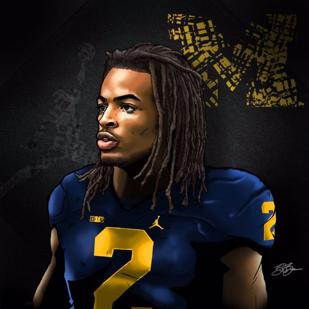 2017 RB Najee Harris (art by Brandon Whitaker)