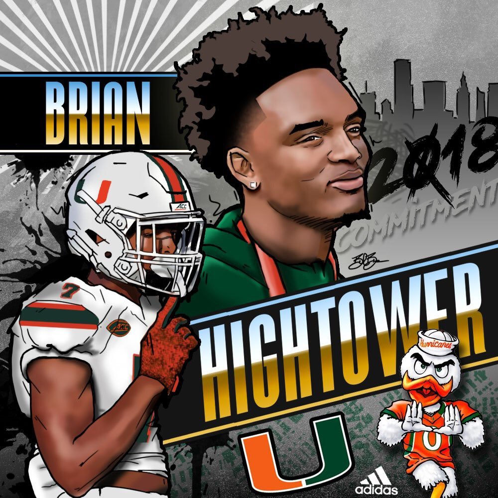 2018 WR Brian Hightower commitment edit (art by Brandon Whitaker)