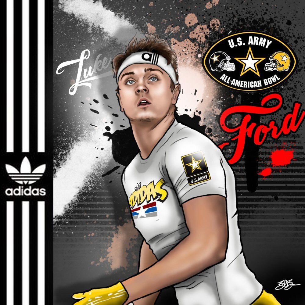 2018 TE Luke Ford Army Bowl (art by Brandon Whitaker)