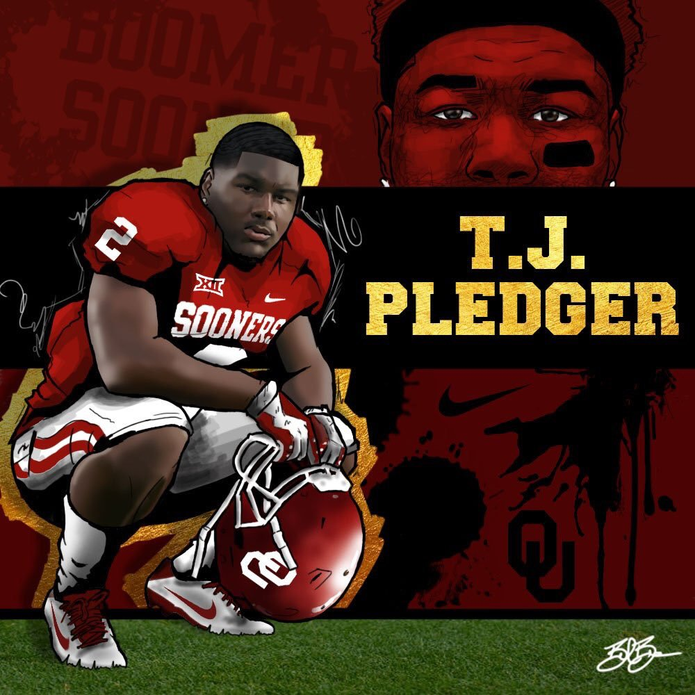 2018 RB TJ Pledger commitment edit (art by Brandon Whitaker)