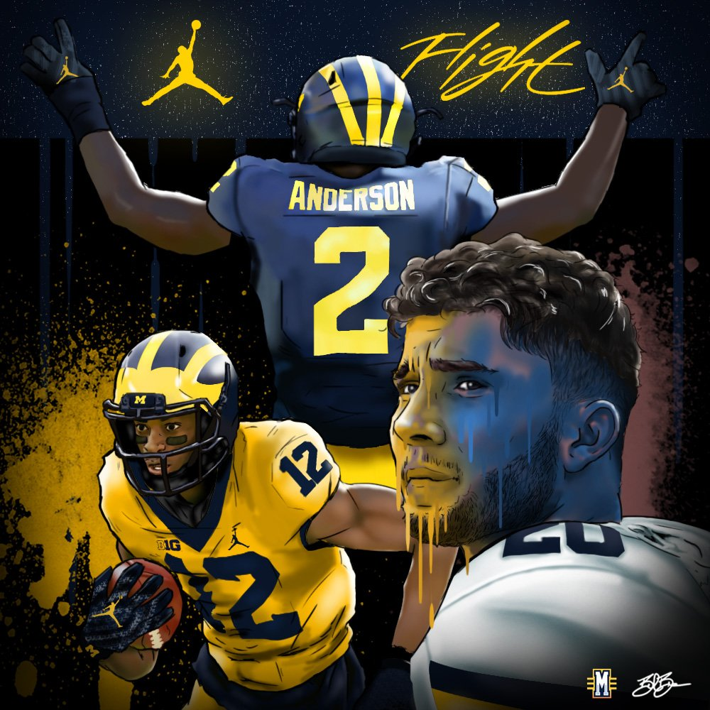 Ole Miss transfers Shea Patterson, Van Jefferson and Deontay Anderson in maize and blue. Art by Brandon Whitaker.