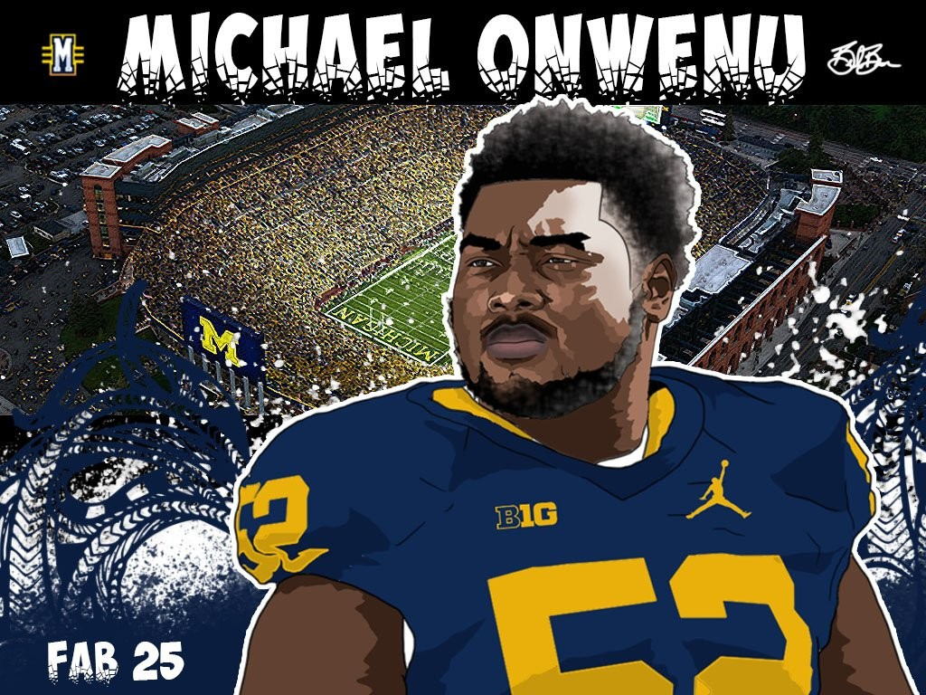 2016 OG Michael Onwenu. (art by Brandon Whitaker)