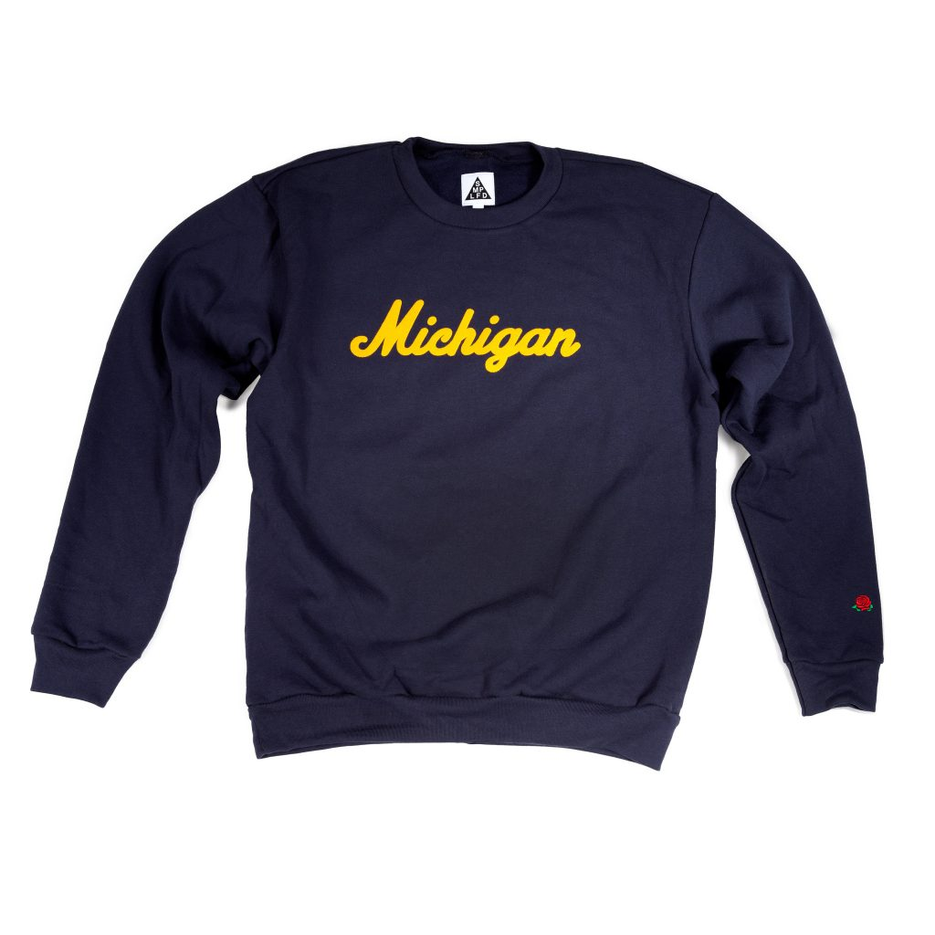 Michigan crewneck from SMPLFD clothing.