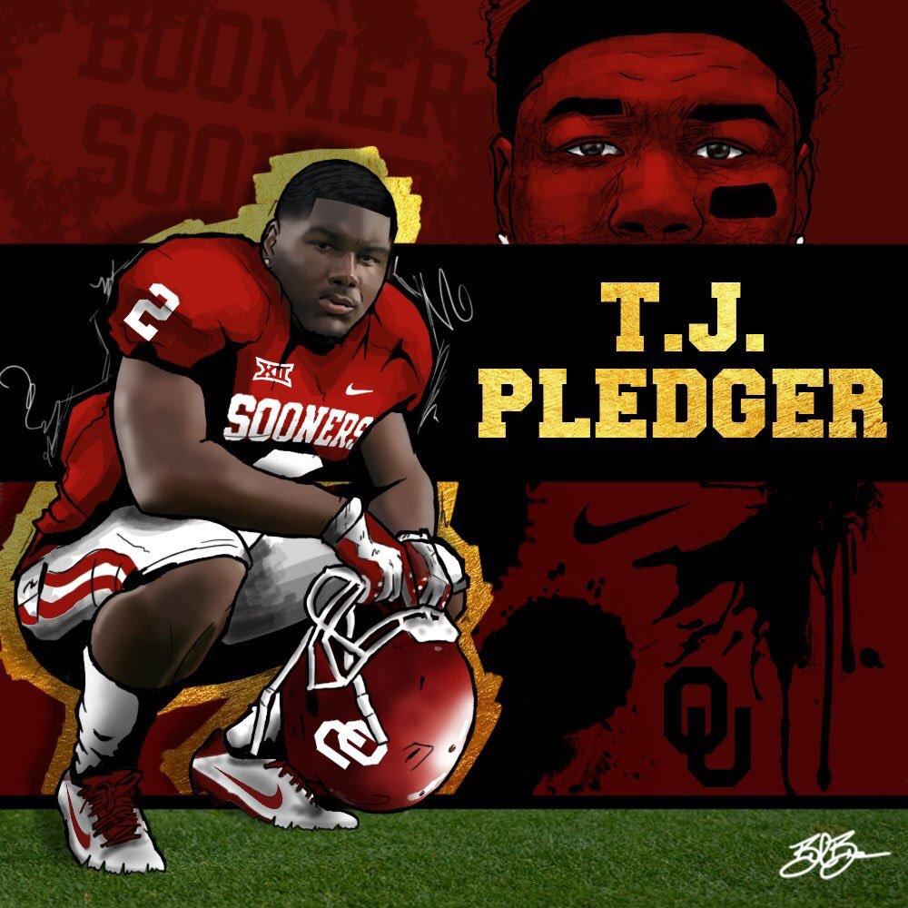 2018 RB TJ Pledger commitment edit (art by Brandon Whitaker)