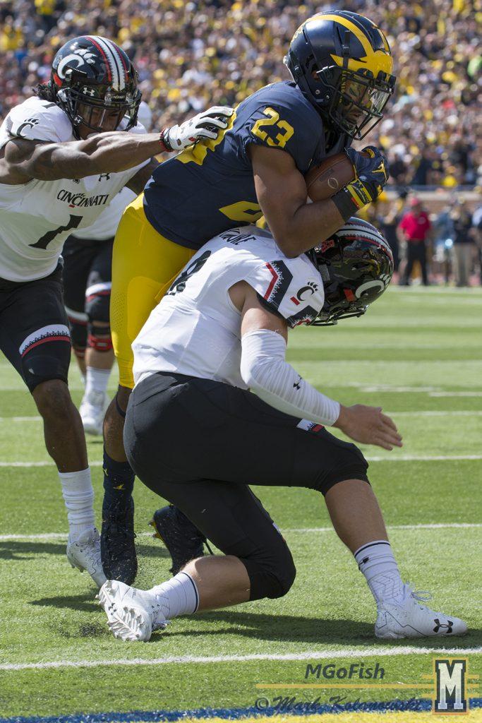 Tyree Kinnel interception return for a touchdown against Cincinnati at Michigan Stadium in Ann Arbor, Michigan on September 9th, 2017. Photo: Mark Kolanowski/MGoFish