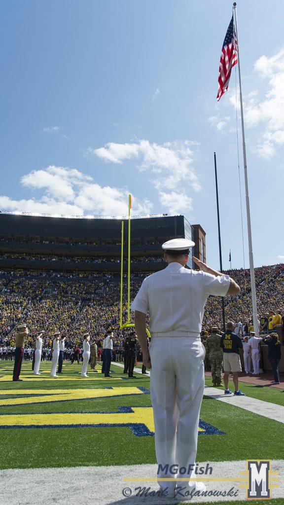 National Anthem at Michigan Stadium in Ann Arbor, Michigan on September 9th, 2017. Photo: Mark Kolanowski/MGoFish