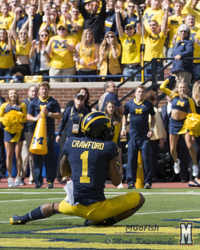 Kekoa Crawford touchdown catch and slide against Cincinnati at Michigan Stadium in Ann Arbor, Michigan on September 9th, 2017. Photo: Mark Kolanowski/MGoFish