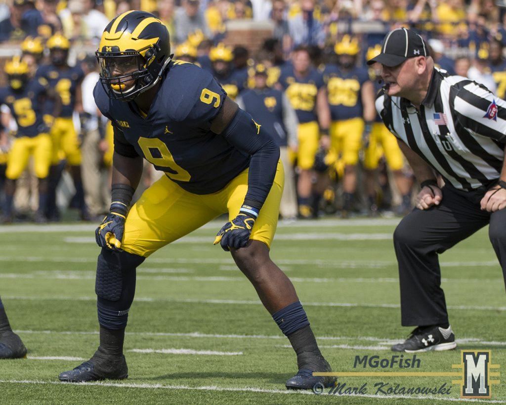 Michigan's Mike McCray vs Air Force 2017. Photo: Mark Kolanowski/MGoFish